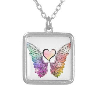 共有-天使の翼およびハート シルバープレートネックレス