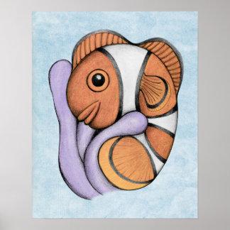 共生のベビーのClownfishの芸術のプリント ポスター