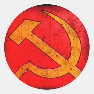 共産主義のソビエト社会主義共和国連邦のソ連国旗のステッカー ラウンドシール