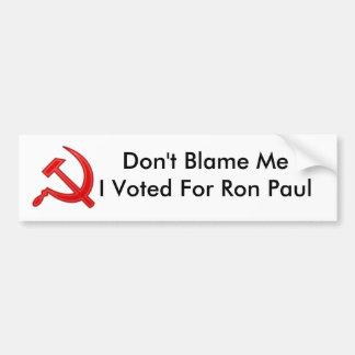 共産主義の記号は、Ronのために投票されるMeIの…責任にしません バンパーステッカー