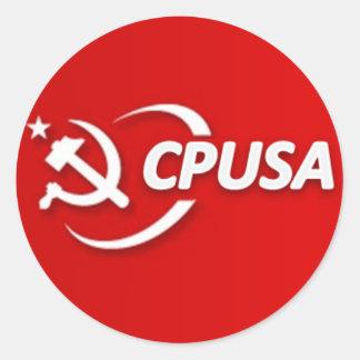 共産党米国(CPUSA)のステッカー ラウンドシール