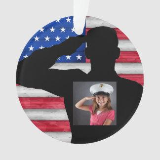 兵士および米国旗-感謝 オーナメント