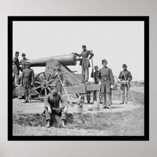 兵士および24挺のポンドの包囲銃Ft Corcoran 1864年 ポスター