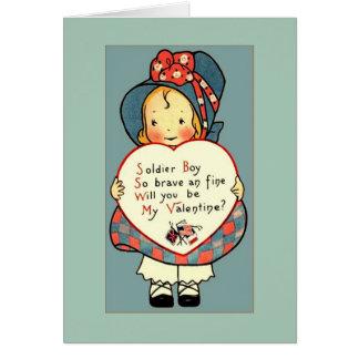 兵士のためのかわいいヴィンテージWWIのバレンタインの挨拶 カード