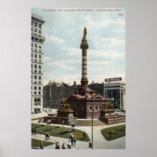 兵士及び船員記念碑のクリーブランドの1910年のヴィンテージ ポスター