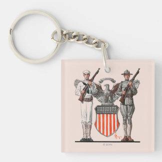 兵士、船員および米国の盾 キーホルダー