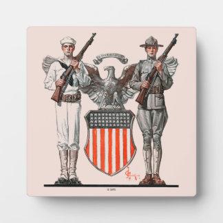 兵士、船員および米国の盾 フォトプラーク