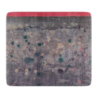 具体的なガラスまな板のペンキの(ばちゃばちゃ)跳ねる カッティングボード