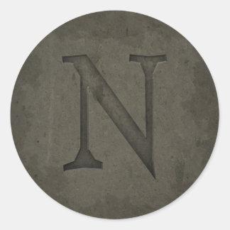 具体的なモノグラムの手紙N ラウンドシール