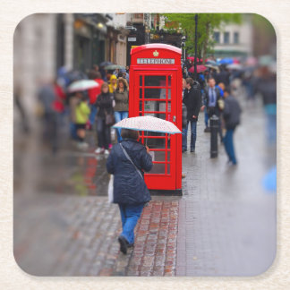典型的なロンドン-傘のコースターを忘れないで下さい スクエアペーパーコースター