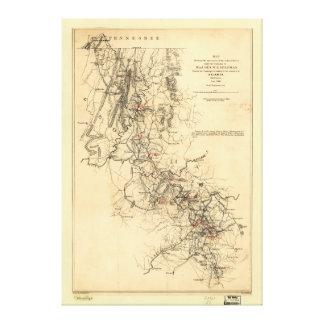 内戦のアトランタのキャンペーン地図1864年9月1日 キャンバスプリント
