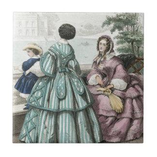 内戦の南北戦争前のファッションの女性夜会服 タイル