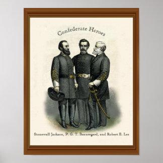 内戦の英雄ストーンウォールBeauregardリー ポスター