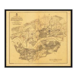 内戦のKnoxvilleテネシー州の地図(1864年) キャンバスプリント