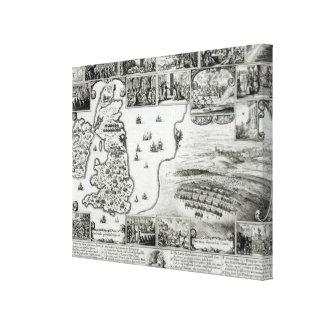 内戦イギリスおよびプラハの眺めの地図 キャンバスプリント