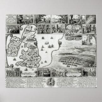内戦イギリスおよびプラハの眺めの地図 ポスター