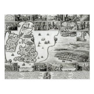 内戦イギリスおよびプラハの眺めの地図 ポストカード