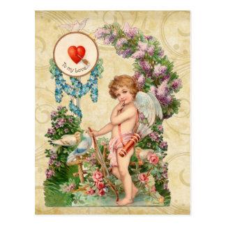 内気なキューピッドのバレンタインの郵便はがき ポストカード
