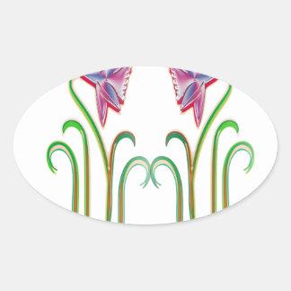 内省的な双生児の花のイラストレーションの芸術のギフト 楕円形シール