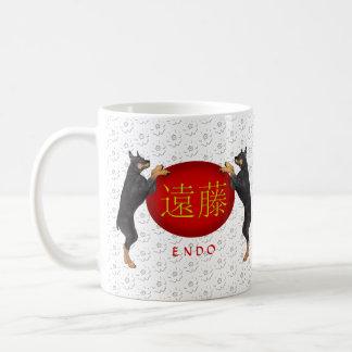 内部のモノグラムのモノグラム犬 コーヒーマグカップ
