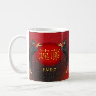 内部のモノグラム犬 コーヒーマグカップ