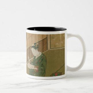 内部場面、c.1730 ツートーンマグカップ