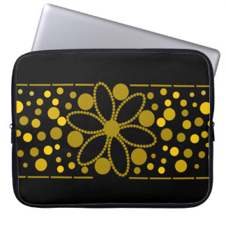 円および花の袖 ラップトップスリーブ