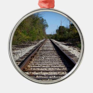 円のオーナメントの鉄道線路の写真 メタルオーナメント