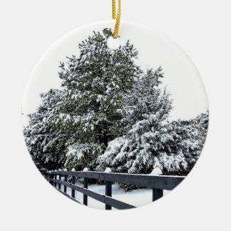 円のオーナメント-雪の木の塀1 セラミックオーナメント
