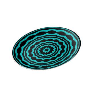 円のゲーム: 嬉しい青 磁器プレート