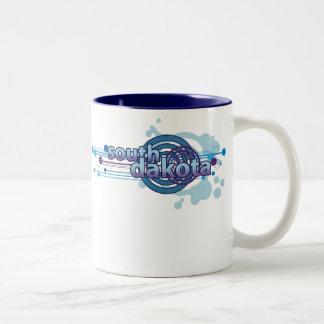 円のサウスダコタの青く写実的なマグ ツートーンマグカップ