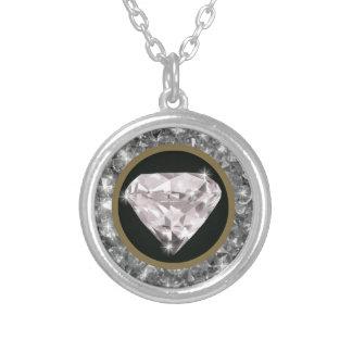 円のダイヤモンド シルバープレートネックレス