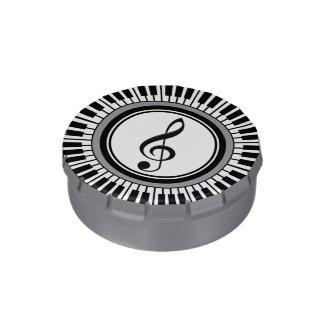 円のピアノ鍵およびト音記号 キャンディー缶