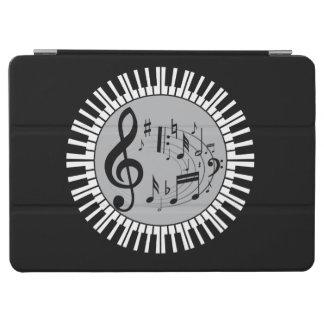 円のピアノ鍵および音楽ノート iPad AIR カバー