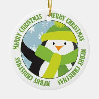 円のメリークリスマスのペンギン セラミックオーナメント