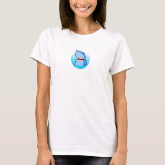 円の女性の白いTシャツのShaaark Tシャツ
