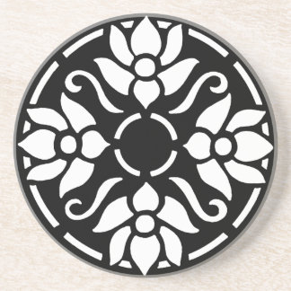 円の白いチューリップ コースター