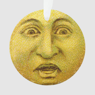 円の装飾-黄色いヴィンテージの月の人 オーナメント
