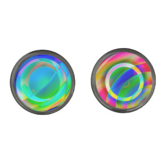 円の逆上 ガンメタル カフスボタン