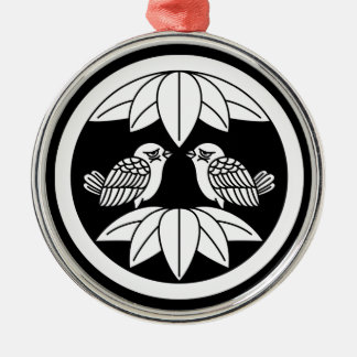 円の10羽のタケ葉及び直面のすずめ メタルオーナメント