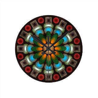 円形かわいい花柄の抽象芸術のベクトル芸術 ラウンド壁時計