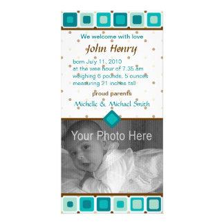 円形にされた正方形の誕生の発表-男の子 カード