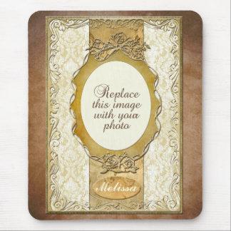 円形にされた開始マウスパッドの華美な金ゴールドフレーム マウスパッド