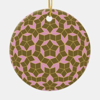 円形になったPenroseのタイルパターンオリーブは上がりました セラミックオーナメント