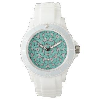 円形になるPenroseのタイルパターン灰色のターコイズ 腕時計