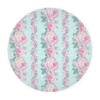 円形のガラスまな板のぼろぼろのシックな装飾のバラ カッティングボード