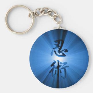 円形のキーホルダー青いNINJUTSUの漢字の星の破烈 キーホルダー