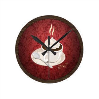 円形のコーヒーカップの柱時計 ラウンド壁時計