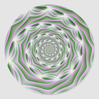 円形のステッカーのピンクおよび緑の渦 ラウンドシール