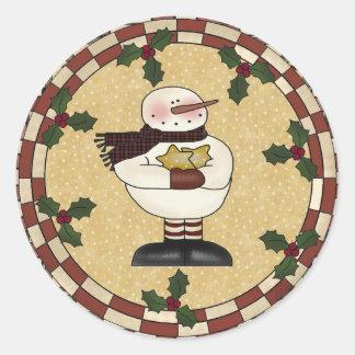 円形のステッカー-星の雪だるま ラウンドシール